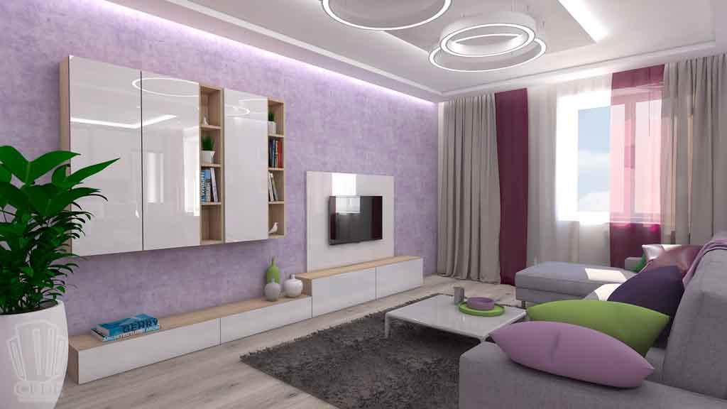 Тюмень улица М. Сперанского д.33. Насыщенная гостиная дизайн проект интерьера (2)