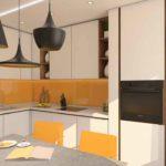 Оранжевая кухня в современной квартире