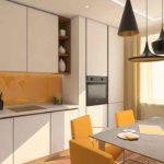Кухня в оранжевых цветах в современном Тюменском доме