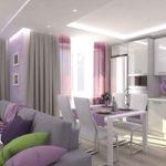 Фиолетовая стильная кухня-гостиная в квартире, дизайнерский интерьер на высоте