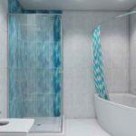 Голубая ванная комната в Тюмени, санузел с душевой
