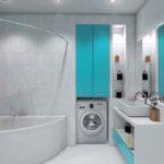 Голубой санузел с ванной