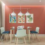 Столовая и кухня в красном цвете вызывает аппетит