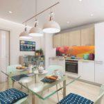 Стеклянный стол хорошо смотрится в интерьере кухни