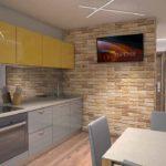 Желтая кухня Тюмень, интерьер обеденной зоны