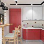 Кухня в красных цветах для молодой семьи из Тюмени