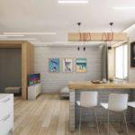 Кухня-гостиная, стильный дизайн для красивой семьи
