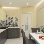 Кухня с ромбиками в стиле минимализм типа