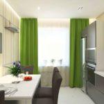 На сайте современная кухня с зелеными шторами в интерьере