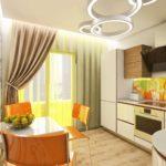 Яркий дизайн интерьера кухни в доме