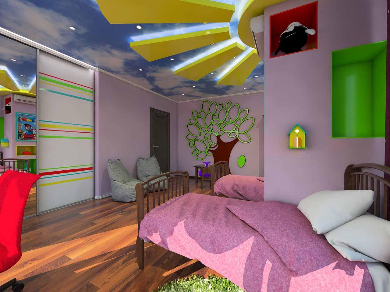 Дизайн детской для девочек в Тюмени ул. Орловская д.52. (3)