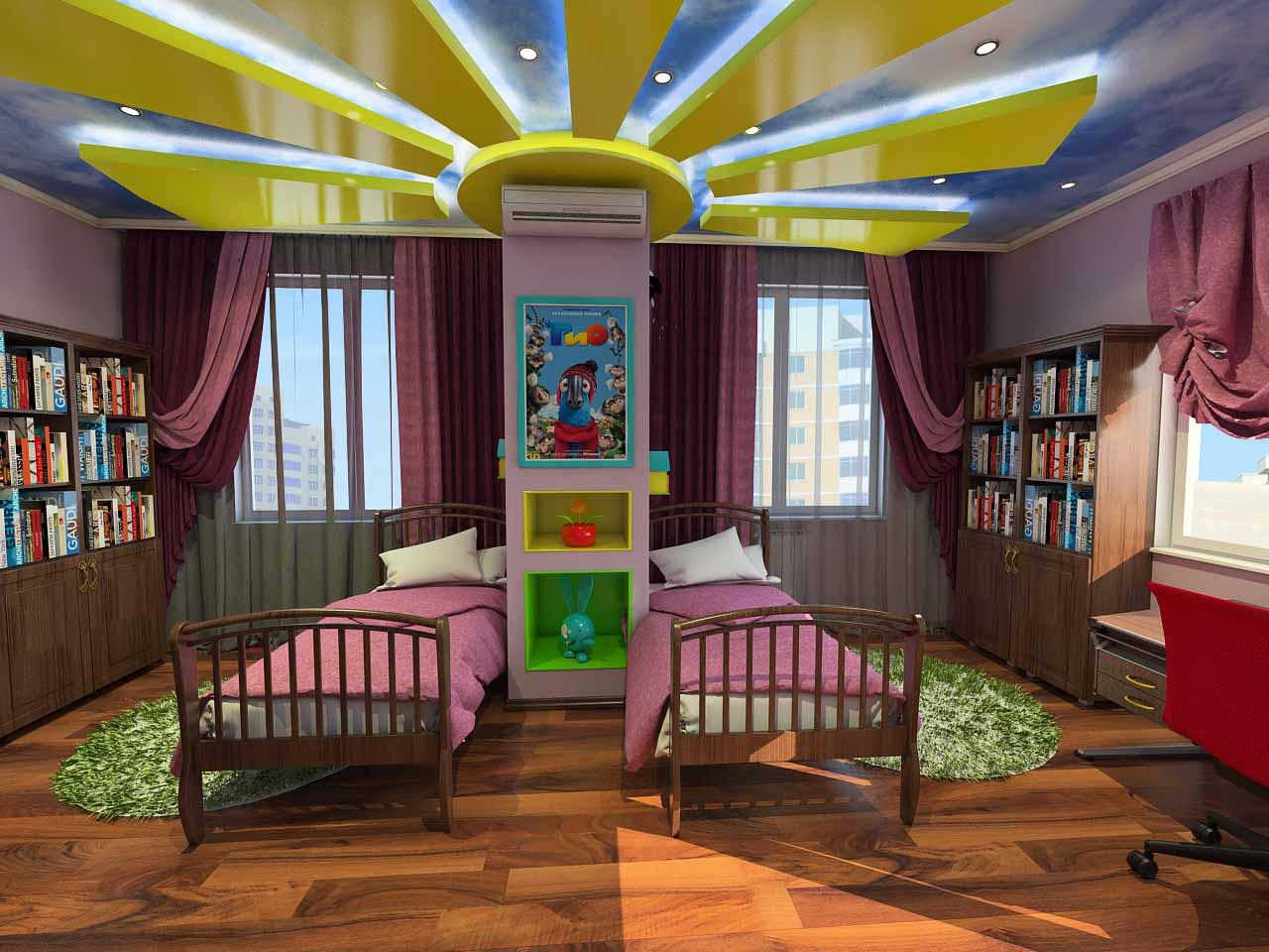 Дизайн детской для девочек в Тюмени ул. Орловская д.52. (5)