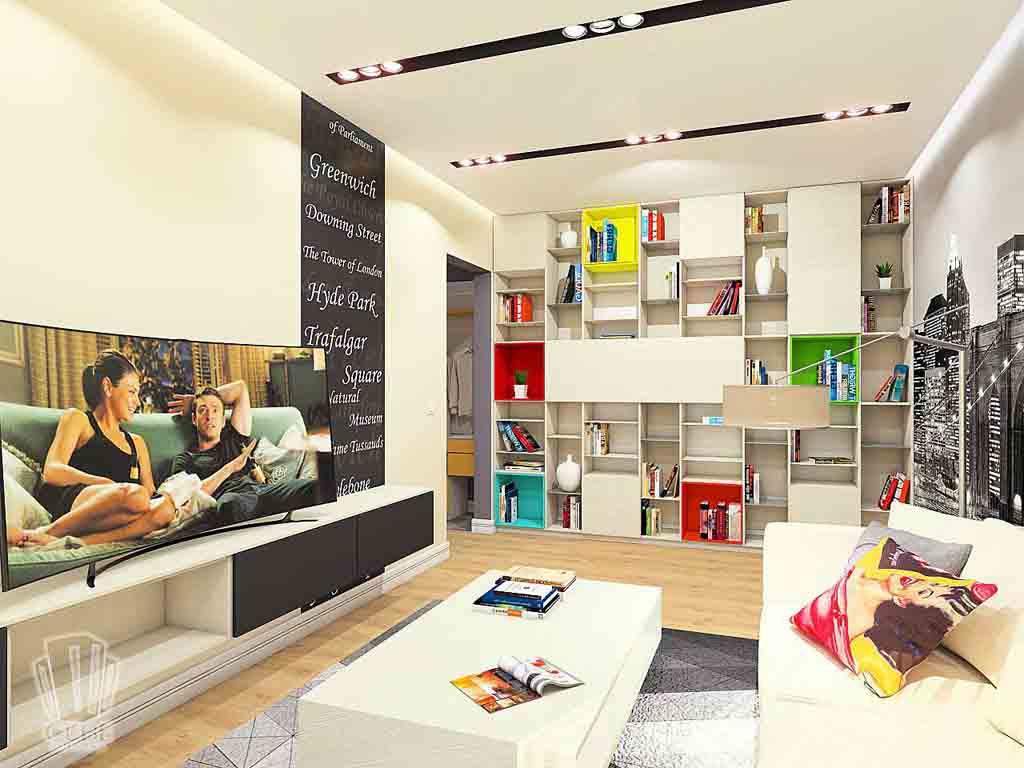 Дизайн интерьера в Тюмени м-н Преображенский Яркая квартира для друзей (11)
