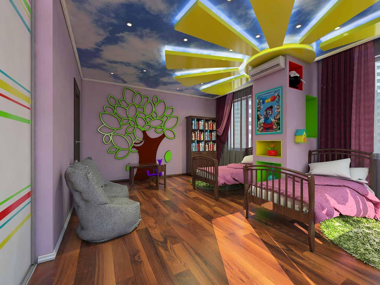 Портфолио. Дизайн детской для девочек в Тюмени ул. Орловская д.52
